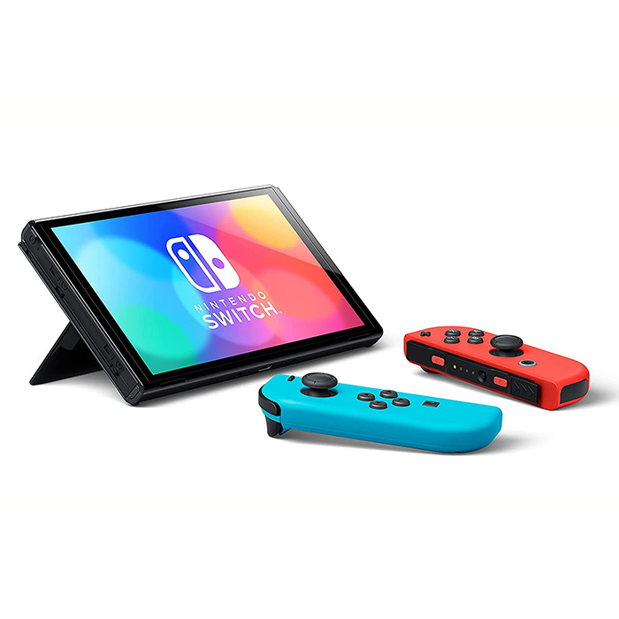 Nintendo Switch OLED model with Neon Red Blue Joy‑Con