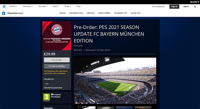 PES 2021 chính thức Chỉ là bản Update Season của PES 20